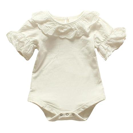 0 – 2 años bebés Pelele, janly Niño Niña Corto Pétalo Mangas Blanco Rosa playsuits