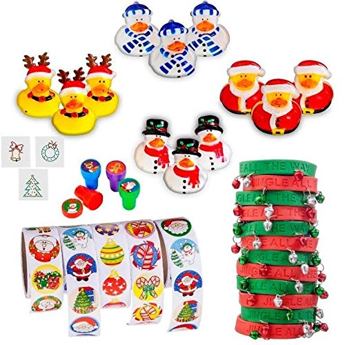 Christmas Stocking Stuffers Toy Assortment (Includes: 12 Cute Christmas Rubber Duckies, 12 Metal Jingel Bell Rubber Bracelets, 500 Christmas Stickers on Rolls, 12 Christmas Stampers, 12 Christmas Tattoos Easy to Apply Non-toxic) Greatest Christmas Stocking Stuffers Available