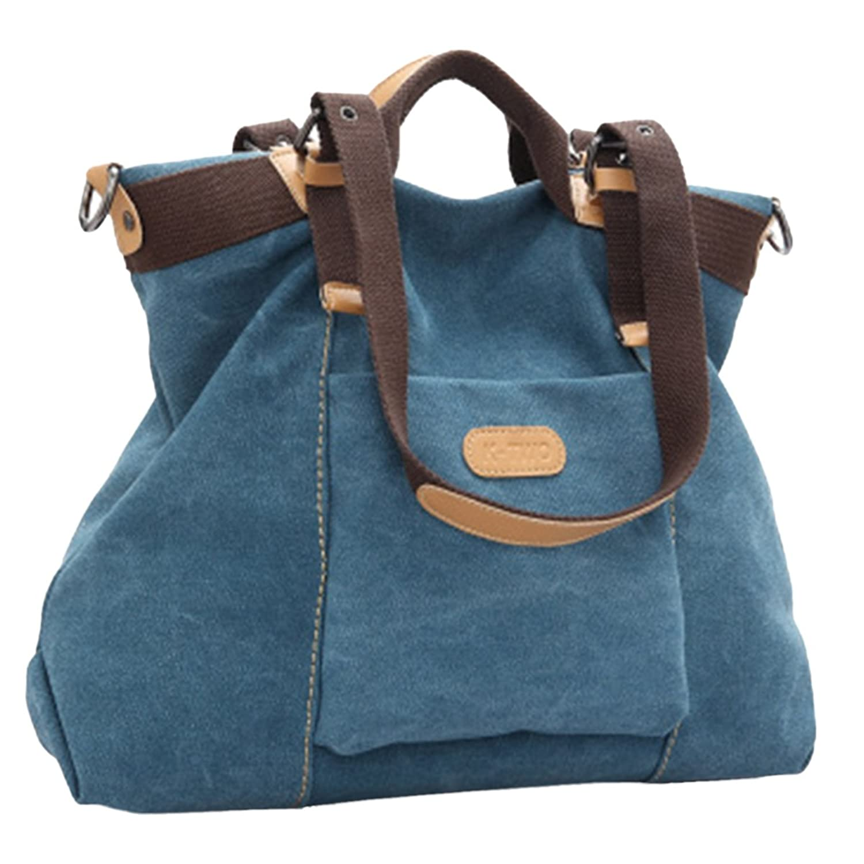 Aivtalk Women's Canvas Shoulder Bag Top-Hanle Bag Vintage Crossbody Bags Handbags-Blue