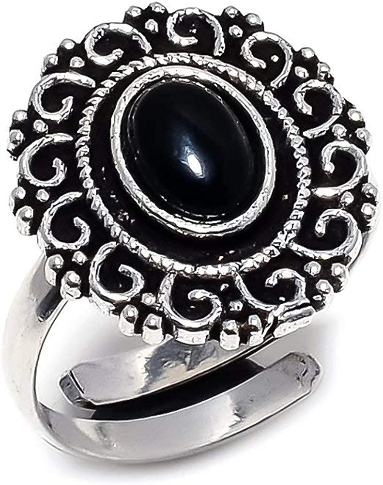 Black Onyx Silver Plated 4 Grams Ring 6 US Best Gift for Girls Sizeable Handmade Jewelry