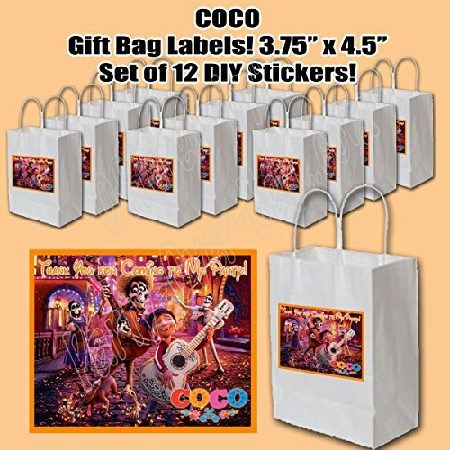 Coco Disney Movie Stickers, Party Favors Supplies Decorations Gift Bag Label STICKERS ONLY 3.75