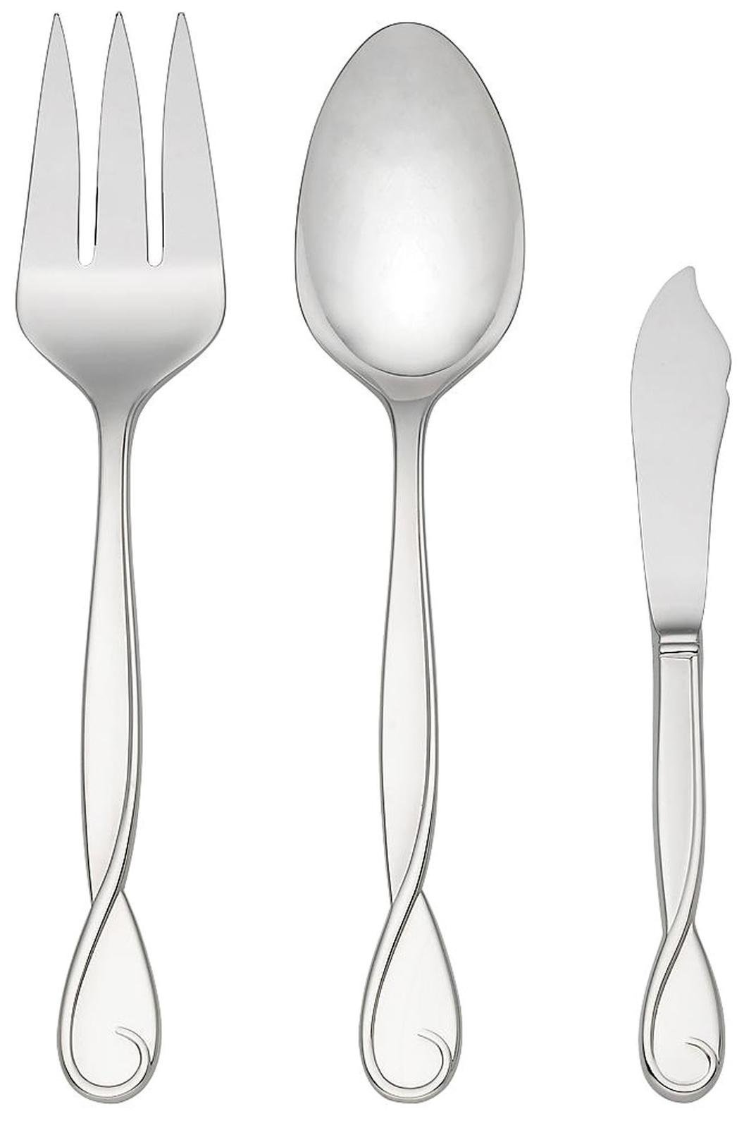 Kate Spade New York Women's Belle Boulevard Serving 3 Piece Set Silver Flatware