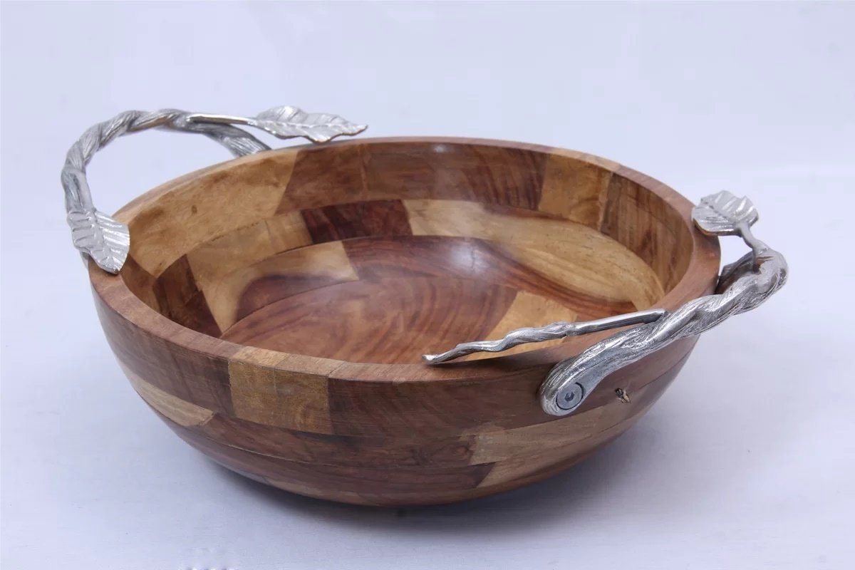 Wood Serving Salad Bowl with Aluminum Handles in Natural Finish 4'' H x 12'' W x 12'' D in.