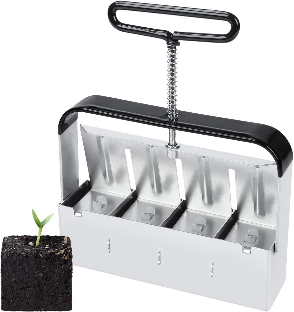 SOLIGT Manual Quad Soil Blocker with Comfort-Grip Handle, Create 2