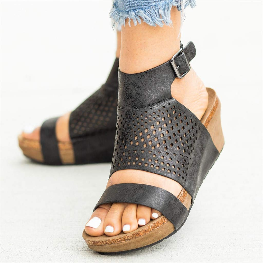 Women's Summer Wedge Sandals Openwork Mesh Roman Sandals Ankle Buckle Casual Beach Party Shoes by Sharemen(Black,US: 5.5) by Sharemen Shoes (Image #4)