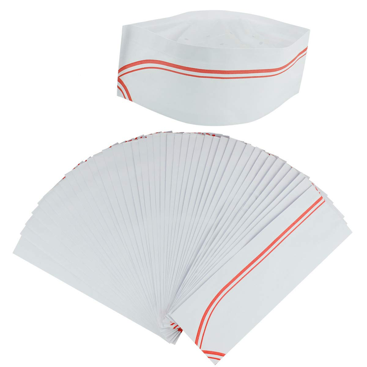 Disposable Paper Chef Hat, QYUKUYU 50 Pack Soda Jerk Hats with Red Strips,Cooking Chef Cap for Restaurants Kitchen Hotel & Party