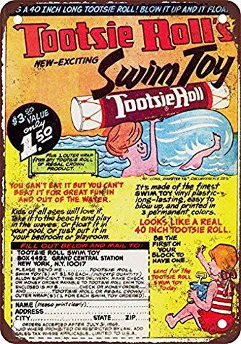 Jacksoney Tin Sign New Aluminum Metal 1968 Tootsie Roll Swim Toy 11.8 x 7.8 Inch