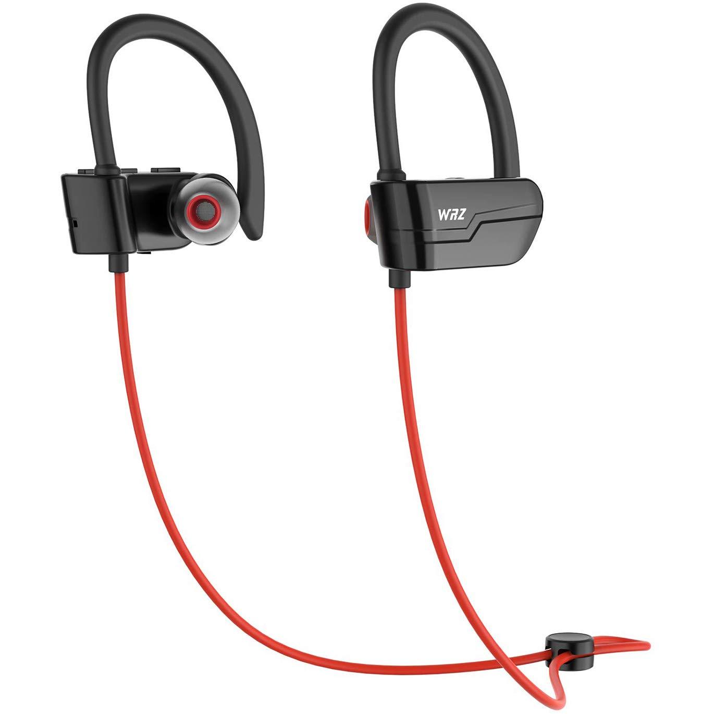 MinZen Bluetooth Headphones Wireless Earphones Sport IPX7 Sport Waterproof Sweatproof Bass Earbuds Cordless Headsets with Microphone 8-9 Hours Playtime for Workout Gym Running Red