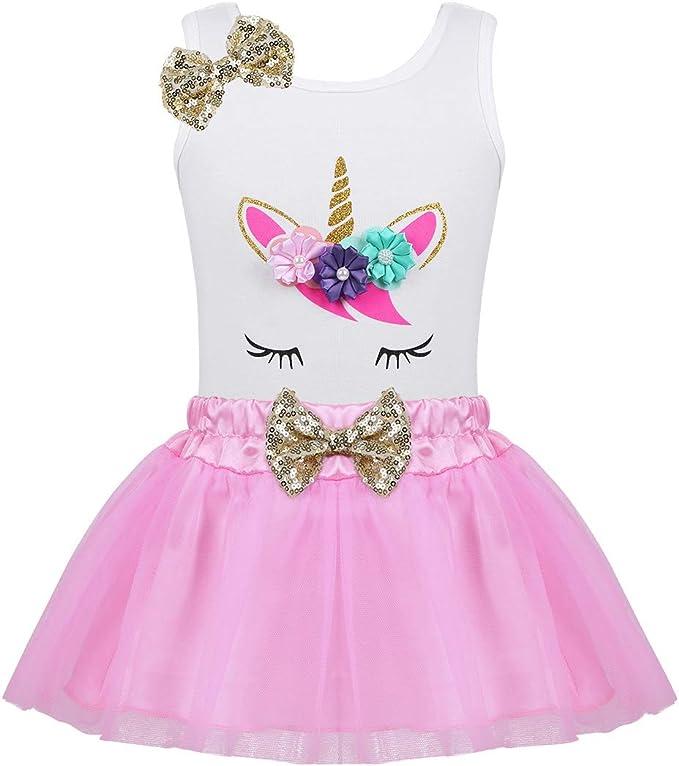 Agoky Vestido Niña Bebé Unicornio Princesa Conjunto Camiseta de ...