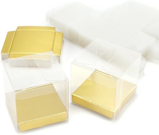 Set de 25/50 Cajas para dulces bombones Caja de plástico para boda regalo Clear Cube Gift Boxes PVC (50): Amazon.es: Hogar