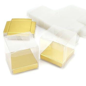 CLE DE TOUS - Set de 25/50 Cajas para dulces bombones Caja de plástico para boda regalo Clear Cube Gift Boxes PVC (50): Amazon.es: Hogar