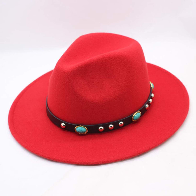MingDe Sports Fall Wide-Brimmed Fedora Men Brown Jazz Flat-Brimmed Hat Felt Cap Trilby Bowler Wool Hats for Women Jewish Hat
