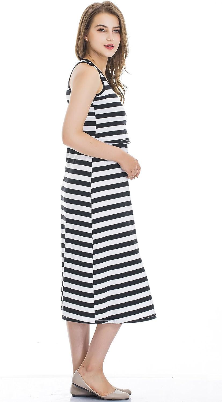 Womens Pure Sleeveless Maternity Nursing Dress for Breastfeeding