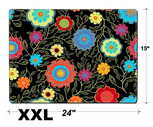 Liili Extra Large Mouse Pad XXL Extended Non-Slip Rubber Gaming Mousepad 24x15 Inch, 3mm thick Stitched Edge Desk Mat Seamless floral pattern IMAGE ID 33458231