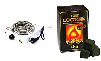 Hornillo Eléctrico + Carbón Natural para Shisha Tom Cococha Gold 1kg