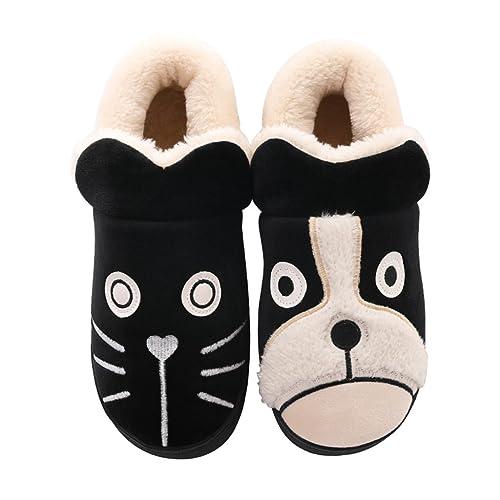 Zapatillas DWW de algodón de Invierno Zapatos Calientes Antideslizantes de Dibujos Animados Femeninos Lindos Negros: Amazon.es: Zapatos y complementos