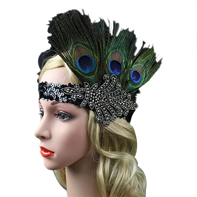 Peacock Feather Fascinator Headband Flapper Headpiece Sequin Party Hair  Accessory 15 Green 821cb12e55c