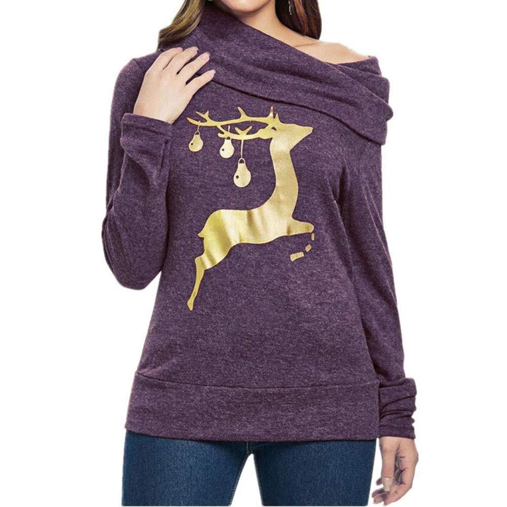 Longra❤ ❤ Mujeres de Navidad Elk Imprimir Oblique Collar Sudadera Blusa: Amazon.es: Ropa y accesorios
