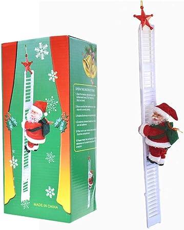 Muñeca de Papá Noel eléctrica, escalera, juguete para fiestas de Navidad, decoración de pared de salida: Amazon.es: Hogar