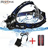Headlamp, JUDYelc Brightest Zoomable 3 Modes LED Headlights with Rechargeable Battery Powered Waterproof Flashlight Helmet Light for Camping, Running, Hiking