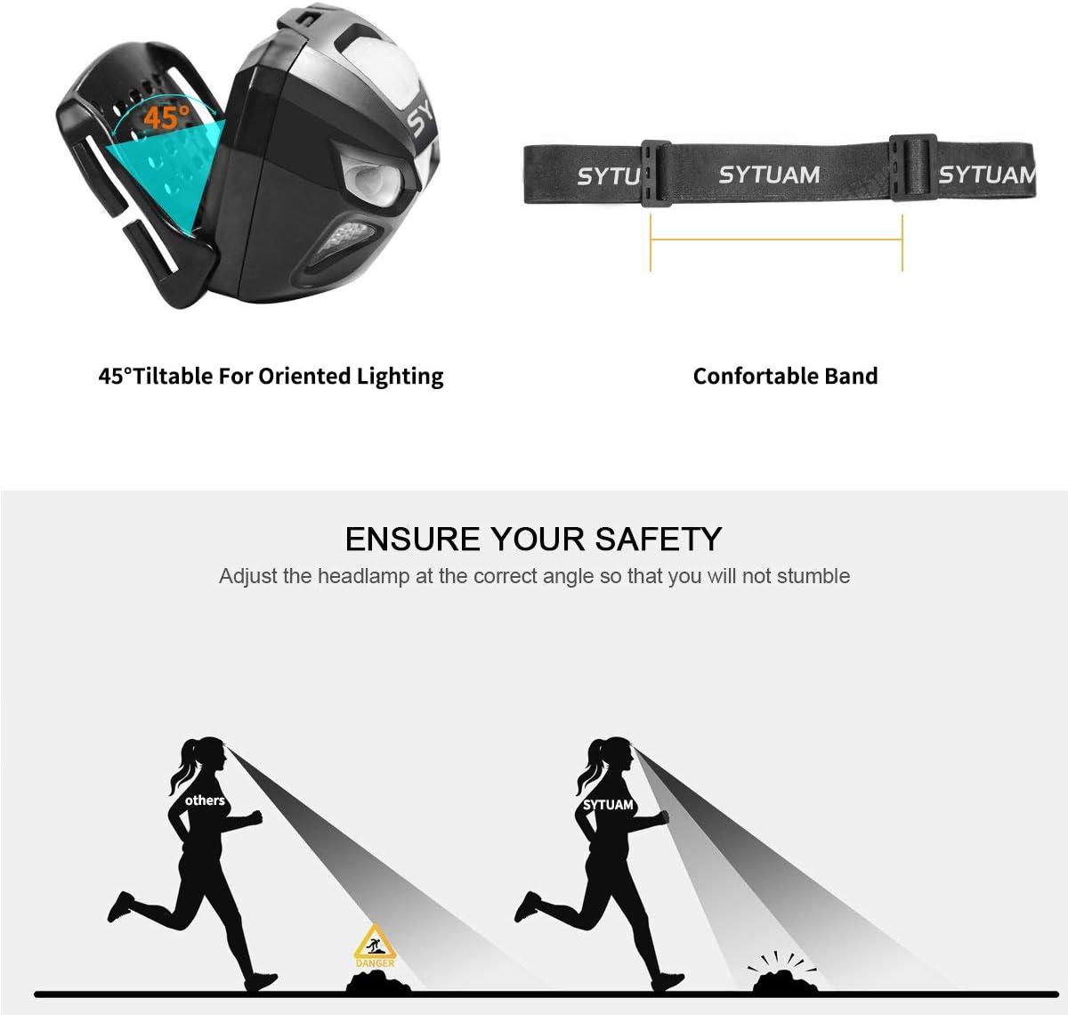 Camping etc SYTUAM Lampe Frontale avec D/étecteur de Movement Rechargeable USB 4 Modes IPX4 /Étanche Running Torche Frontale Puissante 160lm L/ég/ère et Pratique pour Enfants Adultes Lecture