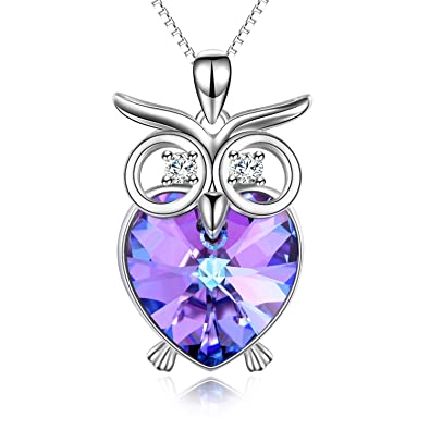 684baee5b1e52 Amazon.com: Owl Necklace 925 Sterling Silver Necklace with Purple ...