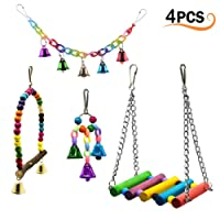 4Pcs Pet Bird Swing Toys with Colorful Wood Beads Bells and Parrot Wooden Hammock Hanging Perch, Decorative Accessories for Small Parakeet Cages.
