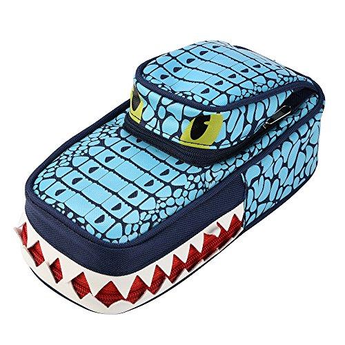 Dirance Creative Tank/Jeep Car/Crocodil/Four-Wheel Drive Design Zip Pencil Case Cute Schoolboy Pencil Box (Crocodil, Blue)