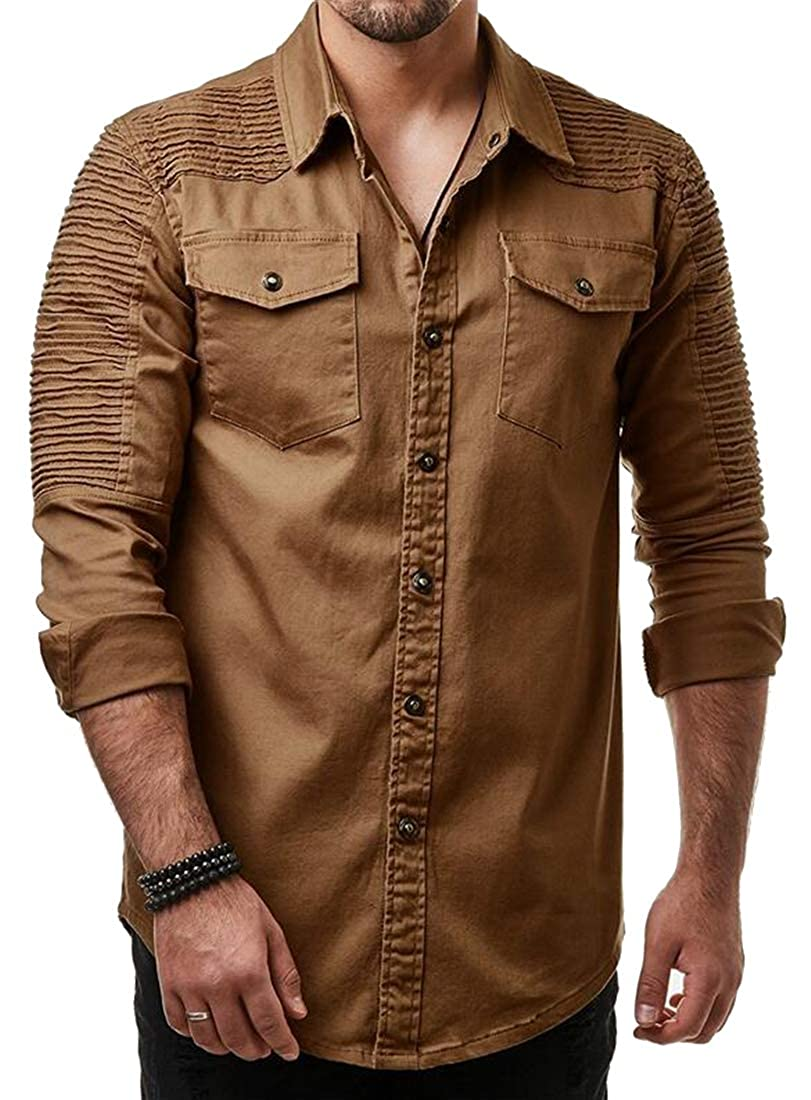 Jofemuho Mens Pockets Chest Ruched Button Up Long Sleeve Casual Washed Denim Work Western Shirt