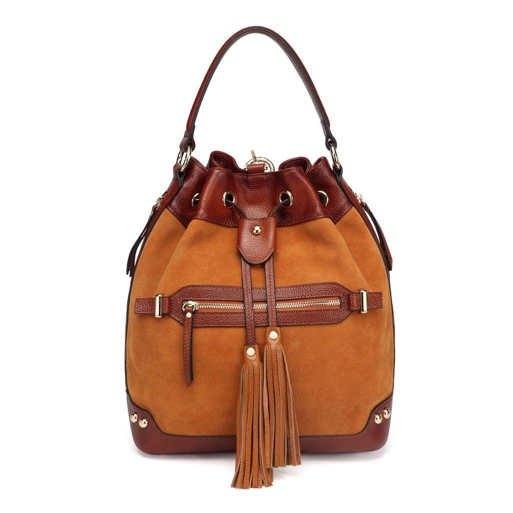 Sonia Suede Leather Bucket bag/ Backpack/Tote - Brown