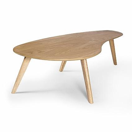 Kidney Shaped Coffee Table, White Oak