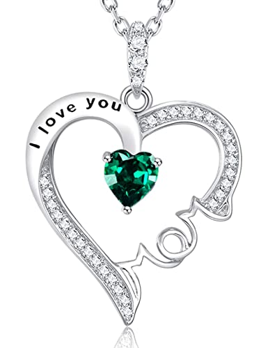 Fine Gifts Jewelry for Mother Green Emerald Necklace I Love You Mom Sterling Silver Love Heart Pendant Fine Jewelry Birthday Gifts for Mom Wife