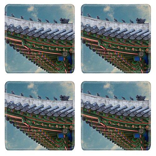 MSD Square Coasters Non-Slip Natural Rubber Desk Coasters design 34624426 The gable roof of Deoksugung palace Seoul South Korea
