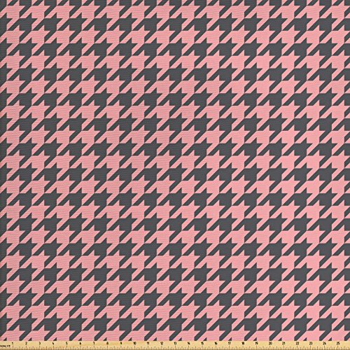 - Ambesonne Pale Pink Fabric by The Yard, Traditional Scottish Plaid Houndstooth Pattern Old Fashioned Pastel, Decorative Fabric for Upholstery and Home Accents, Pale Pink Charcoal Grey