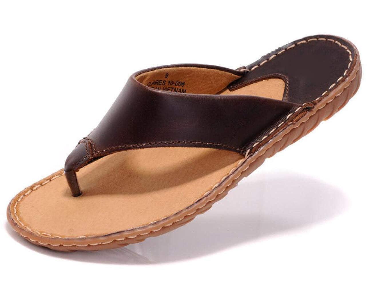 DHFUD Herren Hausschuhe Sommer Leder Flip-Flops Koreanische Flip-Flops Sandalen