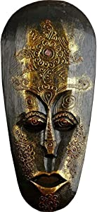 "AEVVV African Mask Aboriginal Style Hand Painted Wooden Mask African Decor Wall Hanging Decor - Hand Chiseled Wood African Style Wall Decor Masks (Dark Gold 12"")"
