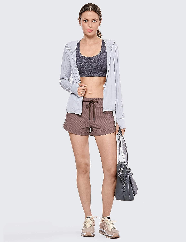 CRZ YOGA Pantalones Cortos Casuales para Mujer Shorts de Verano con Bolsillos-7.6cm