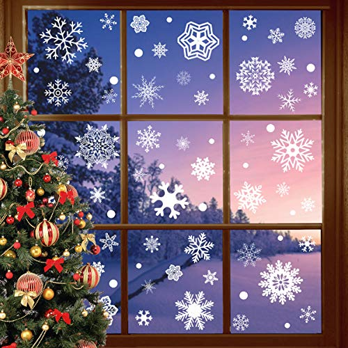 Joinart 247 Pcs Christmas Window Clings Christmas Window Stickers Snowflake Window Clings Decals for Christmas Decorations Holiday Decorations Ornaments Party Supplies 9 Sheets (Window Displays Old Christmas)