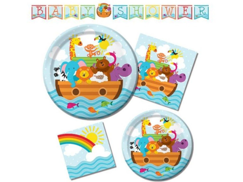 Creative Converting Noah's Ark Animals Baby Shower Tableware Entertaining Pack for 16 by Party Creations