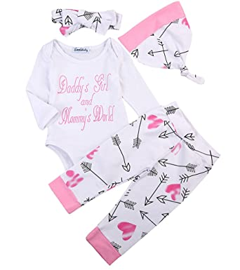 a37276894 Emmababy 4PCS Newborn Infant Baby Girls Outfit Clothes Romper Jumpsuit  Bodysuit + Pants + Headband +