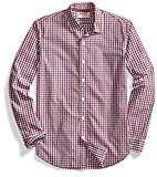 Goodthreads Men's Standard-Fit Long-Sleeve Two-Color Gingham Shirt, Red/Blue, Large