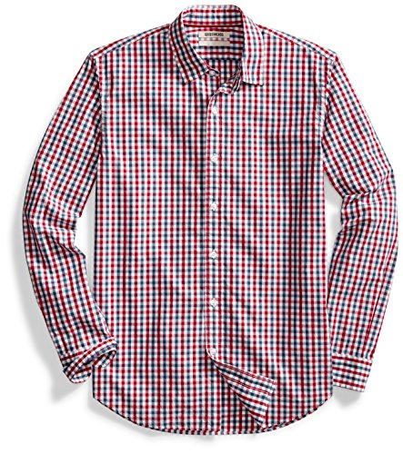 Goodthreads Men's Standard-Fit Long-Sleeve Two-Color Gingham Shirt, Red/Blue, Medium (Front Gingham Shirt)