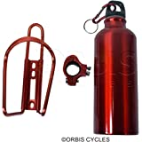 ORBIS Alloy Bottle with Bottle Holder & mounting clamp Red