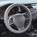 """BDK SW-899-SG Genuine Leather Car Steering Wheel Cover 13.5""""-14.5"""" (Small/Gray) - Universal Fit, Easy Installation"""