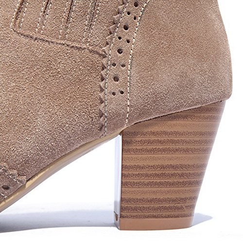 Closed Round Flower heels toe Women's AmoonyFashion Nude Carved Boots Heels Kitten toe with and Chunky ZqxtAvFn