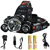 KEKU High Power LED Headlamp(5000 Lumens MAX) Rechargeable Waterproof HeadLamp Flashlight on the head headlamp with 3 Xm-l T6 4 Modes,Wall Charger and Car Charger for Outdoor Sports