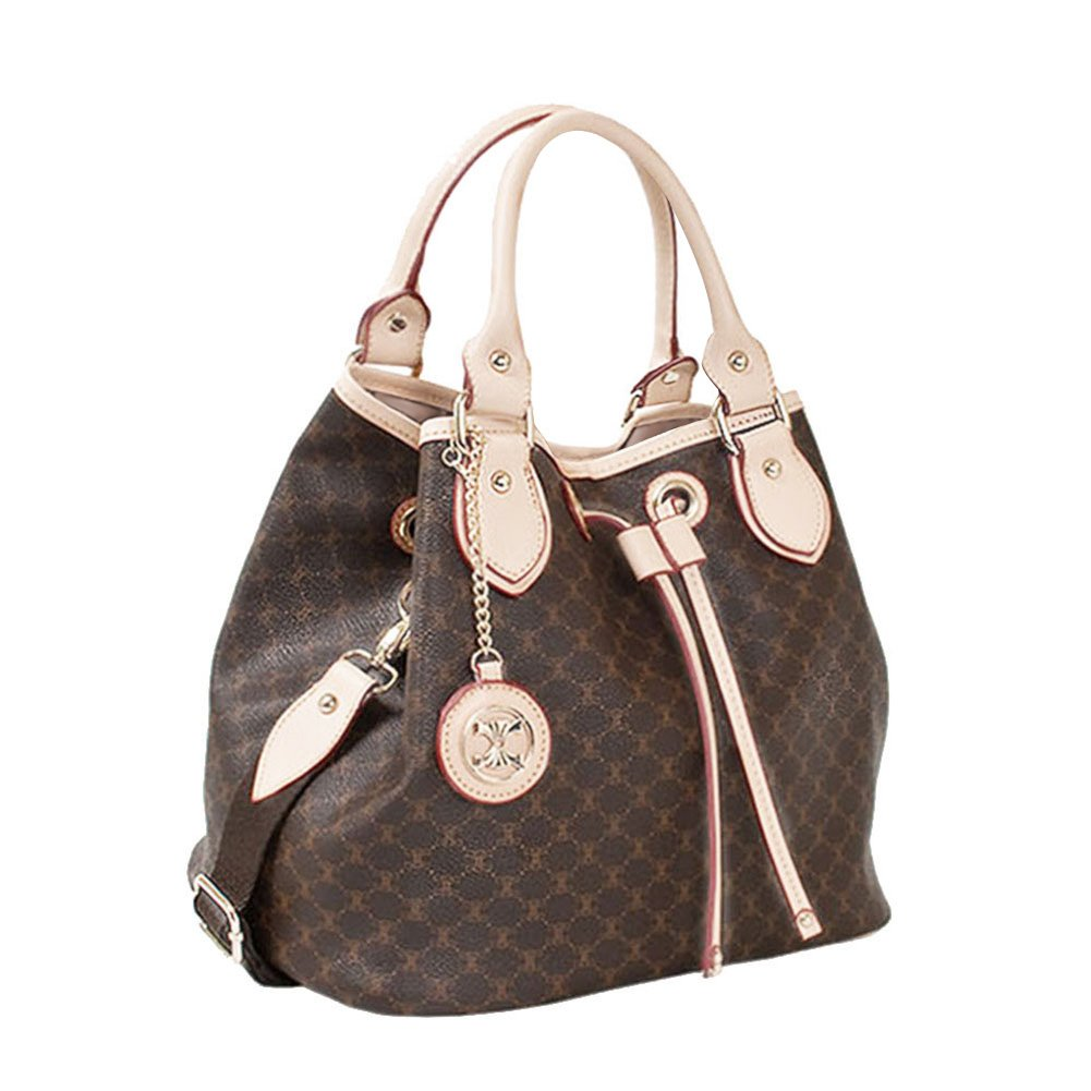 Leather Accents Drawstring Handbag (beige)