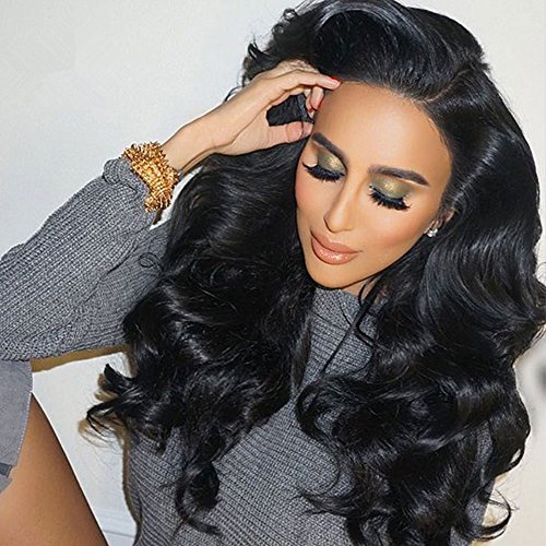 Cici Collection 250% High Density Lace Front Human Hair Wigs With Baby Hair 7A Wavy Brazilian Lace Front Wigs Human Hair Pre Plucked Lace Front Wigs For Black Women (16inch, (Collection Human Hair Wig)
