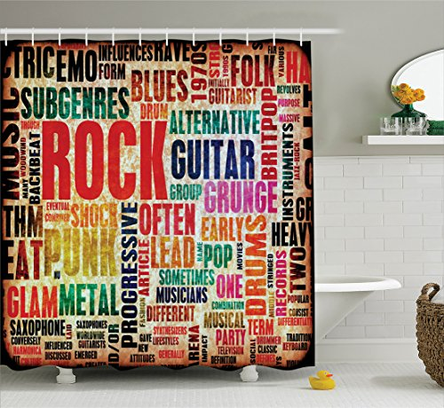Music Decor Collection, Retro Rock and Roll Symbol Lettering in Grunge Distressed Colors Polyester Shower Curtain Set with Hooks, Multi