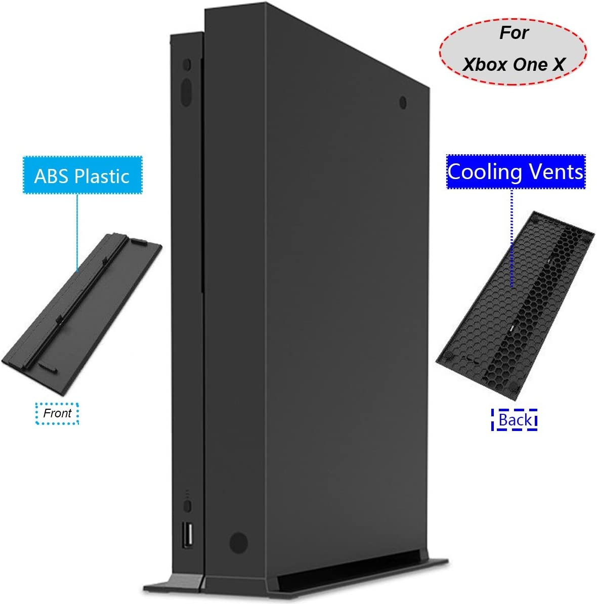 Whiteoak Vertical Stand for Xbox One X with Built-in Cooling Vents & 4X Non-Slip Rubber Pad(Cooling Vents)